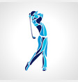 silhouette of golf player in blue colors vector image