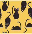 silhouettes cute cats seamless pattern vector image