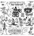 Tattoo art design of lord rama ravana and hanuman