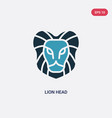 two color lion head icon from animals concept vector image vector image