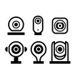 video surveillance new black set symbols vector image vector image
