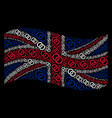 waving uk flag pattern of wedding rings items vector image