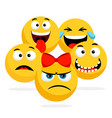 yellow faces emoticons happy vector image