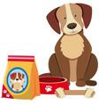 cute dog and dog food vector image