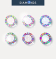 Set realistic diamond with reflex glare and shadow vector image