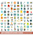 100 communication icons set flat style vector image vector image