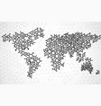 abstract world map of hexagonal molecular vector image vector image