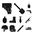 army and armament black icons in set collection vector image