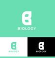 biology logo b monogram green leaves