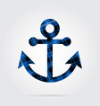 blue black tartan isolated icon - boat anchor vector image vector image
