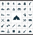 camping icons universal set for web and ui vector image vector image