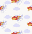 cartoon air plane seamless pattern vector image vector image