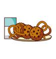 cookies pretzel and milk food dessert bakery vector image