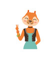 cute fashion fox girl character showing victory vector image vector image