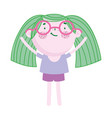 cute girl with glasses cartoon character standing vector image vector image