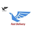 Delivery or shipping emblem with flying bird vector image