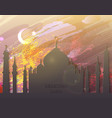 eid al fitr card - watercolor mosque vector image vector image