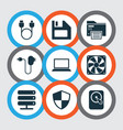 gadget icons set with charger floppy disk hard vector image