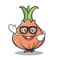 geek face onion character cartoon vector image vector image
