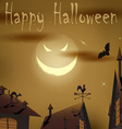Halloween night evil moon above houses vector image vector image