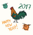 hand drawn of new year cock vector image