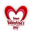 happy valentines day card with heart and white vector image