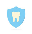healthy tooth in a shield on white background vector image vector image