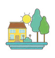 house with trees and plant with flowers and sun vector image vector image