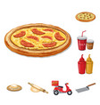 isolated object of pizza and food logo collection vector image vector image