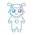 line nice baby girl with pijama and hairstyle vector image