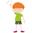 Little boy with his hand up vector image vector image