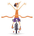 man rides a bike and wins the race vector image vector image