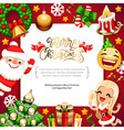merry christmas background with copy space on red vector image