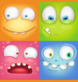monster faces vector image vector image