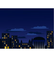 Night cityscape in blue colors vector image vector image