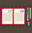 notebook with pen and pencil flat design vector image vector image