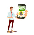 online payment smiling man showing smart vector image