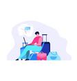 ordering airline ticket online flat concept vector image