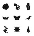 origami paper icons set simple style vector image vector image