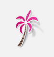 realistic paper sticker palm vector image vector image