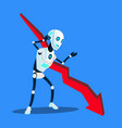 robot with falling down decreasing business trend vector image