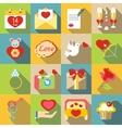 Saint Valentine symbols icons set flat style vector image vector image