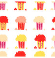 seamless pattern colored buckets popcorn vector image