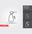 spray bottle line icon with editable stroke vector image vector image