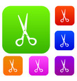 stationery scissors set color collection vector image vector image