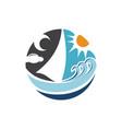 travel logo design beach sun wave summer vector image vector image