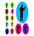 waiter bartender logo silhouette vector image
