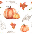 watercolor seamless pattern background of pumpkin vector image