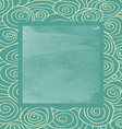 Waves curled hand-drawn pattern frame square vector image