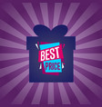 best price sticker on box silhouette vector image